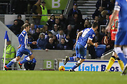 Brighton striker (on loan from Manchester United), James Wilson (21) attacks the goal during the Sky Bet Championship match between Brighton and Hove Albion and Birmingham City at the American Express Community Stadium, Brighton and Hove, England on 28 November 2015. Photo by Phil Duncan.