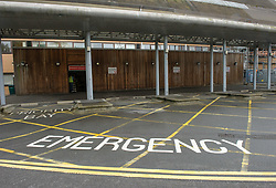 © Licensed to London News Pictures.  04/07/2017; Weston-super-Mare, North Somerset, UK. The A&E ambulance entrance at Weston General Hospital. A protest against the overnight closure of Weston General Hospital Accident and Emergency department is held before the Weston Area Health NHS Trust  Board meeting at Weston General Hospital which is to agree the temporary overnight closure of the Accident & Emergency department because of staffing levels, with no projected date given for a return to 24hr service. It was announced last month the A&E unit would be closing between 10pm and 8am from Tuesday 04 July, after a Care Quality Commission inspection raised concerns over the long-term sustainability of staffing levels. The decision has been made on patient safety grounds because the trust cannot provide enough specialist hospital doctors to safely staff the A&E department overnight. Patients arriving by ambulance will instead be taken to either the BRI or Southmead in Bristol, or Taunton's Musgrove Park hospitals, and anyone who would otherwise turn up to the A&E department themselves is being urged to either try to get to Bristol or ring the NHS helpline on 111. Unison, the trade union representing health workers, said it was vital the NHS bosses running Weston's hospital had a plan in place to reinstate the 24 hour service as soon as possible, so the temporary closure didn't become permanent. Unison says the closure comes from a staffing shortage that is the direct result of the government running down the NHS, and that on the week of the NHS' 69th birthday, they value this national treasure and the staff who keep it going more than ever. A hospital spokesman said they had no choice to close the unit after the CQC report rated the A&E department 'inadequate', and that A&E has been fragile for several years as a result of ongoing challenges around medical recruitment and a national shortage of A&E doctors which has made this position worse. They have become h