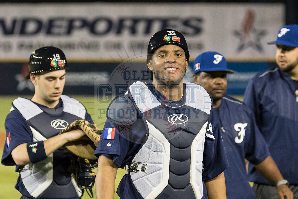 Photos prises lors du premier entra&icirc;nement dans le Stade Rod Carew de l'&eacute;quipe de France avant le premier match du tour qualificatif de la World Baseball Classic.<br /> 15/03/2016.  <br /> <br /> Credit photo : Glenn Gervot