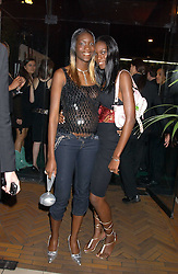 Left to right, sisters PATSY and ANTOINETTE from the TV series Make Me A Supermodel at a party for the relaunch of Pizza on The Park, 11 Knightsbridge, London on 20th October 2005.<br />