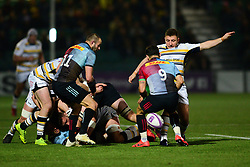 Duncan Weir of Worcester Warriors kicks the ball away from Danny Care of Harlequins - Mandatory by-line: Dougie Allward/JMP - 30/03/2019 - RUGBY - Sixways Stadium - Worcester, England - Worcester Warriors v Harlequins - European Challenge Cup quarter-final