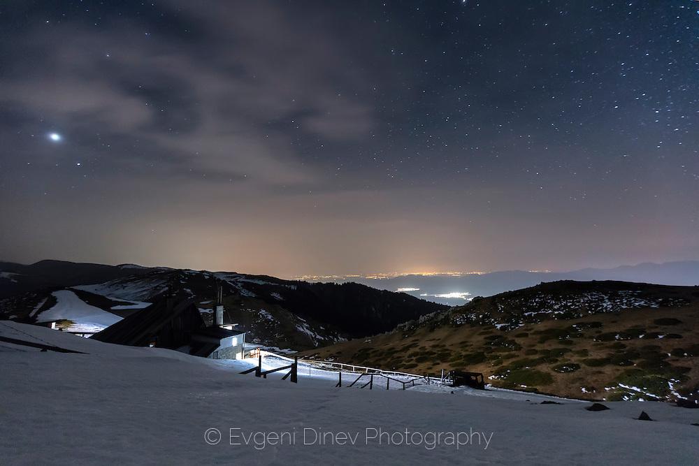 Balkan Mountains at night