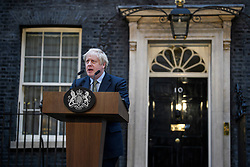© Licensed to London News Pictures. 13/12/2019. London, UK. British Prime Minister BORIS JOHNSON is seen Speaking to media outside 10 Downing Street, on the day the Conservative party achieved a clear majority in the General Election. A general election was called for December 12th following a deadlock in Parliament over the UK's decision to leave the EU. Photo credit: Ben Cawthra/LNP
