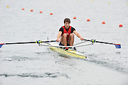 Eton, United Kingdom  GBR M1X. Graeme THOMAS, at the start of his heat of the men's  single sculls at the 2012 GB Rowing Senior Trials, Dorney Lake. Nr Windsor, Berks.  Saturday  10/03/2012  [Mandatory Credit; Peter Spurrier/Intersport-images]
