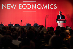 © Licensed to London News Pictures. 10/02/2018. London, UK. Labour Party Leader Jeremy Corbyn gives a speech at a Labour Party conference on alternative models of ownership following the collapse of construction firm Carillion and the termination of the East Coast rail franchise. Photo credit: Rob Pinney/LNP