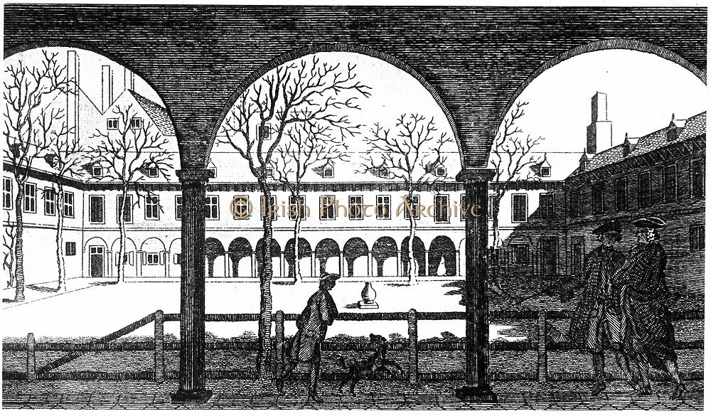 Courtyard of Gresham College, from 18th century engraving. Although its true origins are somewhat earlier, the Royal Society was formally constituted at Gresham College on 28 November 1660, its meeting place until 1710.
