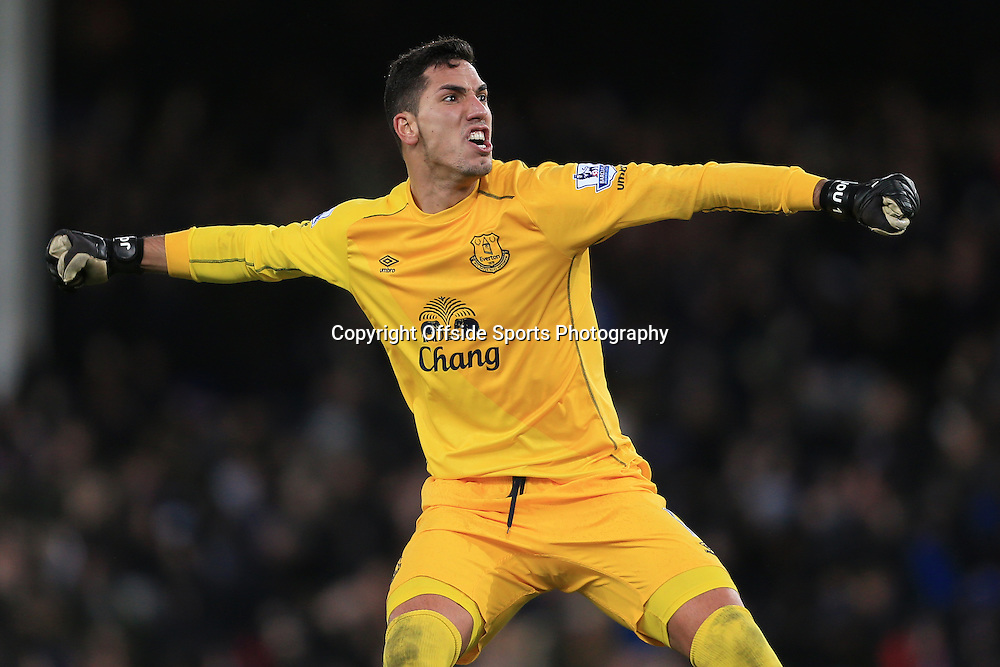 10th January 2015 - Barclays Premier League - Everton v Manchester City - Everton goalkeeper Joel Robles celebrates - Photo: Simon Stacpoole / Offside.