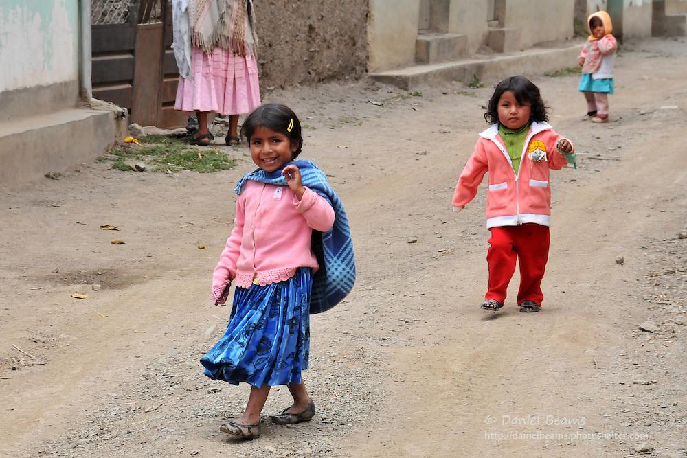 Children playing in Quiabaya, near Sorata, Bolivia