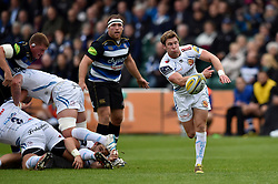 Will Chudley of Exeter Chiefs passes the ball - Mandatory byline: Patrick Khachfe/JMP - 07966 386802 - 10/10/2015 - RUGBY UNION - The Recreation Ground - Bath, England - Bath Rugby v Exeter Chiefs - West Country Challenge Cup.