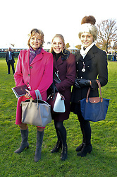Left to right, LADY LLOYD WEBBER and her daughters BELLA LLOYD WEBBER and DANIELLE at the 2013 Hennessy Gold Cup at Newbury Racecourse, Berkshire on 30th November 2013.