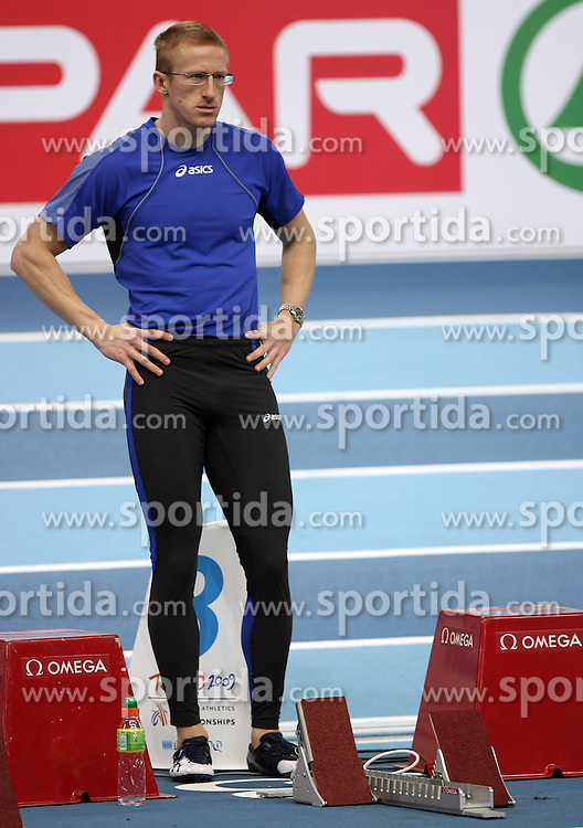 Slovenian athlete Matic Osovnikar at warming up day before European Athletics Indoor Championships Torino 2009 (6th - 8th March), at Oval Lingotto Stadium,  Torino, Italy, on March 5, 2009. (Photo by Vid Ponikvar / Sportida)