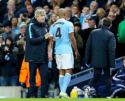 Manchester City Manager, Manuel Pellegrini looks disappointed as Vincent Kompany leaves the pitch with an injury   - Mandatory byline: Matt McNulty/JMP - 15/03/2016 - FOOTBALL - Etihad Stadium - Manchester, England - Manchester City v Dynamo Kyiv - Champions League - Round of 16