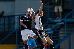 Gašper Udovič of Triglav vs Andrija Bubnjar of Mura during football match between NK Triglav and NS Mura in 5th Round of Prva liga Telekom Slovenije 2019/20, on August 10, 2019 in Sports park, Kranj, Slovenia. Photo by Vid Ponikvar / Sportida
