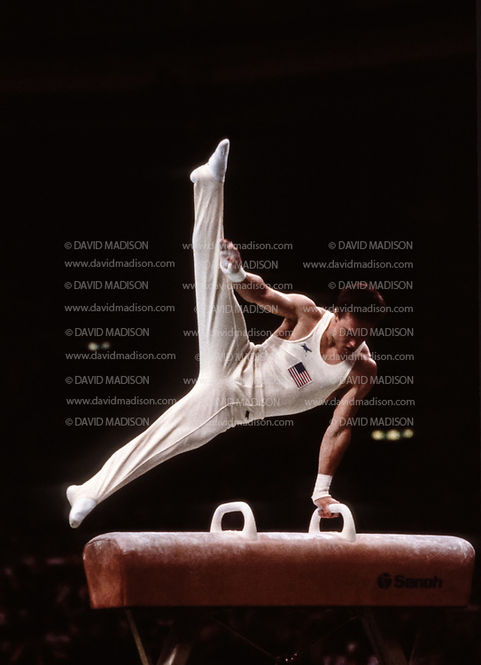 SEOUL, SOUTH KOREA -  SEPTEMBER 1988:  Kevin Davis of the United States competes on the pommel horse during the Men's Gymnastics competition of the 1988 Olympic Games during September 1988 at the Olympic Gymnastics Hall in Seoul, South Korea.  (Photo by David Madison/Getty Images)