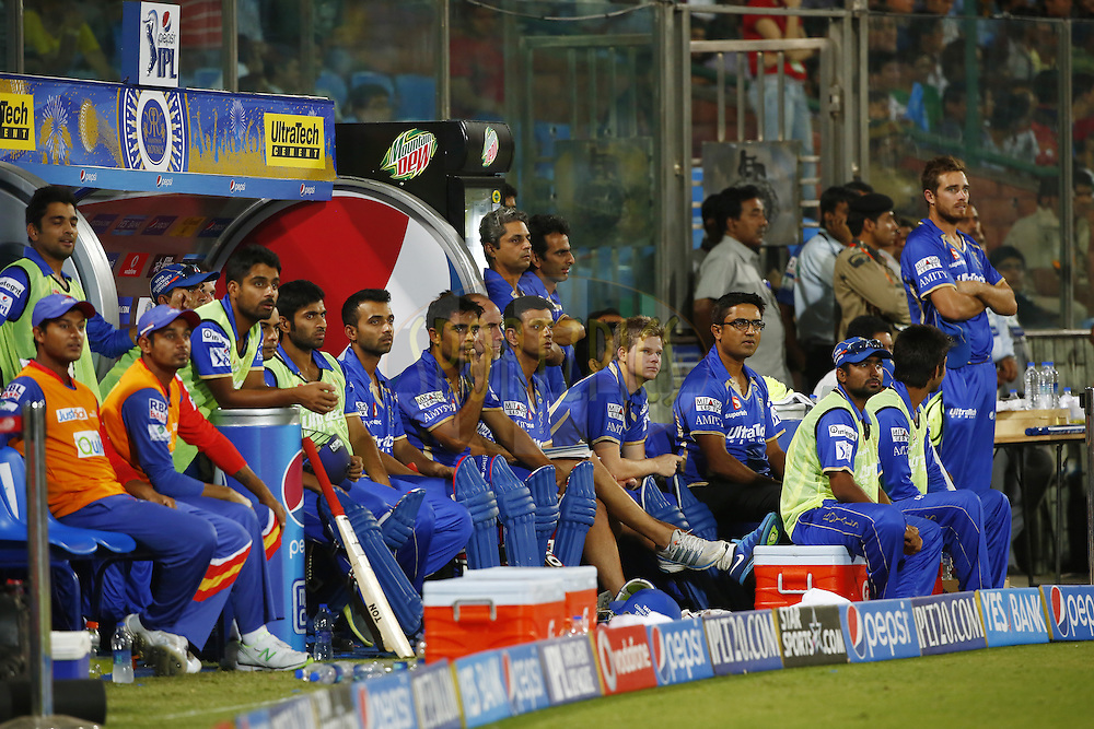 Rajatshan Royals dugout during match 23 of the Pepsi Indian Premier League Season 2014 between the Delhi Daredevils and the Rajasthan Royals held at the Feroze Shah Kotla cricket stadium, Delhi, India on the 3rd May  2014<br /> <br /> Photo by Deepak Malik / IPL / SPORTZPICS<br /> <br /> <br /> <br /> Image use subject to terms and conditions which can be found here:  http://sportzpics.photoshelter.com/gallery/Pepsi-IPL-Image-terms-and-conditions/G00004VW1IVJ.gB0/C0000TScjhBM6ikg