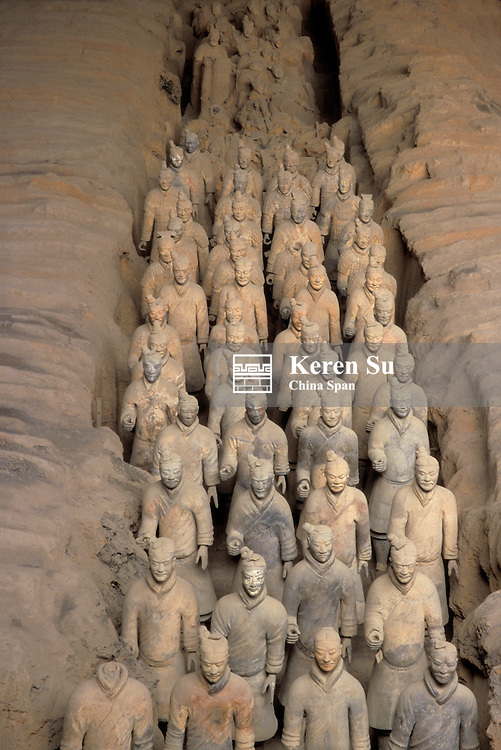 The Army of terra cotta warriors at Emperor Qin Shihuangdi's Tomb, Xian, Shaanxi Province, China
