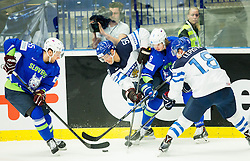 Robert Sabolic of Slovenia, Juhamatti Aaltonen of Finland, Ziga Jeglic of Slovenia and Sami Lepisto of Finland during Ice Hockey match between Finland and Slovenia at Day 7 in Group B of 2015 IIHF World Championship, on May 7, 2015 in CEZ Arena, Ostrava, Czech Republic. Photo by Vid Ponikvar / Sportida