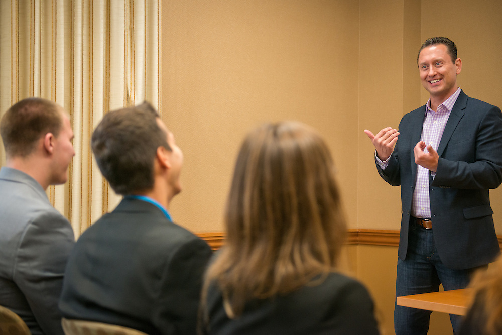 Ohio University College of Business alumnus, Tim Holt, speaks with the Select Leaders group at Baker University Center on the Ohio University campus in Athens, Ohio on Oct. 15, 2015. © Ohio University / Photo by Joel Prince