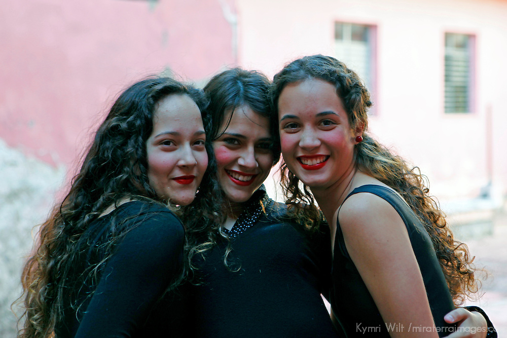 Central America, Cuba, Santa Clara. Female Dance Students at the Santa Clara Musical School of Art, Cuba.