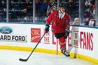 KELOWNA, CANADA - MARCH 9:  Cayde Augustine #5 of the Kelowna Rockets warms up against the Kamloops Blazers on March 9, 2019 at Prospera Place in Kelowna, British Columbia, Canada.  (Photo by Marissa Baecker/Shoot the Breeze)