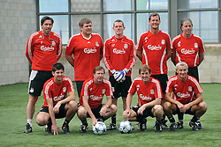 LIVERPOOL, ENGLAND - Tuesday, May 12, 2009: Ex-Liverpool players during a training session at Melwood as the players prepare for the Hillsborough Memorial Game in aid of the Marina Dalglish Appeal which will be staged at Anfield on May 14. Back row L-R: Gary Ablett, Jan Molby, Paul Harrison, Gary Gillespie, Mark Lawrenson. Front row L-R: Jean-Paul Sproson, Ronnie Whelan, Kenny Dalglish, Ian Rush. (Photo by Dave Kendall/Propaganda)