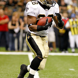 August 12, 2011; New Orleans, LA, USA; New Orleans Saints running back Mark Ingram (28) against the San Francisco 49ers during the first half of a preseason game at the Louisiana Superdome. Mandatory Credit: Derick E. Hingle