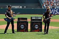 SAN FRANCISCO, CA - MAY 02:  Recording artists James Hetfield and Kirk Hammett of the rock band Metallica perform the National Anthem before the game between the San Francisco Giants and the Los Angeles Angels of Anaheim at AT&T Park on May 2, 2015 in San Francisco, California.  The San Francisco Giants defeated the Los Angeles Angels of Anaheim 5-4. (Photo by Jason O. Watson/Getty Images) *** Local Caption *** James Hetfield; Kirk Hammett