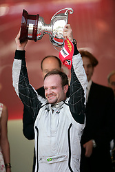 MONTE-CARLO, MONACO - Sunday, May 24, 2009: Rubens Barrichello (BRA Brawn GP) celebrates his second place finish] during the Monaco Formula One Grand Prix at the Monte-Carlo Circuit. (Pic by Juergen Tap/Hoch Zwei/Propaganda)