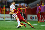 Warsaw, Poland - 2017 October 08: (L) Robert Lewandowski of Poland fights for the ball with (R) Nikola Vukcevic of Montenegro during soccer match Poland v Montenegro - FIFA 2018 World Cup Qualifier at PGE National Stadium on October 08, 2017 in Warsaw, Poland.<br /> <br /> Mandatory credit:<br /> Photo by &copy; Adam Nurkiewicz / Mediasport<br /> <br /> Adam Nurkiewicz declares that he has no rights to the image of people at the photographs of his authorship.<br /> <br /> Picture also available in RAW (NEF) or TIFF format on special request.<br /> <br /> Any editorial, commercial or promotional use requires written permission from the author of image.