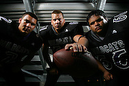 Photo by Alex Jones..Weslaco East Wildcats: #2 Ricky Alaniz, mid linebacker, #61 Donald Moore Jr., left tackle, #66 Frank Ginez III, offensive guard.