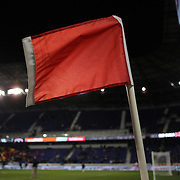 The corner flag at Red Bull Arena during the New York Red Bulls V Houston Dynamo, Major League Soccer regular season match at Red Bull Arena, Harrison, New Jersey. USA. 23rd April 2014. Photo Tim Clayton