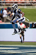 Los Angeles Rams wide receiver JoJo Natson (19) leaps in the air as he gets set to return a kick off during the 2018 NFL regular season week 2 football game against the Arizona Cardinals on Sunday, Sept. 16, 2018 in Los Angeles. The Rams won the game in a 34-0 shutout. (©Paul Anthony Spinelli)