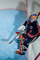 KELOWNA, CANADA - FEBRUARY 24:  Dylan Ferguson #31 of the Kamloops Blazers stands in net against the Kelowna Rockets on February 24, 2018 at Prospera Place in Kelowna, British Columbia, Canada.  (Photo by Marissa Baecker/Shoot the Breeze)  *** Local Caption ***