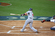 LOS ANGELES, CA - MARCH 22: Third baseman David Wright #4 of USA hits a stand up double to score a run in the third inning against Japan in game two of the semifinal round of the 2009 World Baseball Classic at Dodger Stadium in Los Angeles, California on Sunday March 22, 2009. Japan defeated USA 9-4. (Photo by Paul Spinelli/WBCI/MLB Photos) *** Local Caption *** David Wright