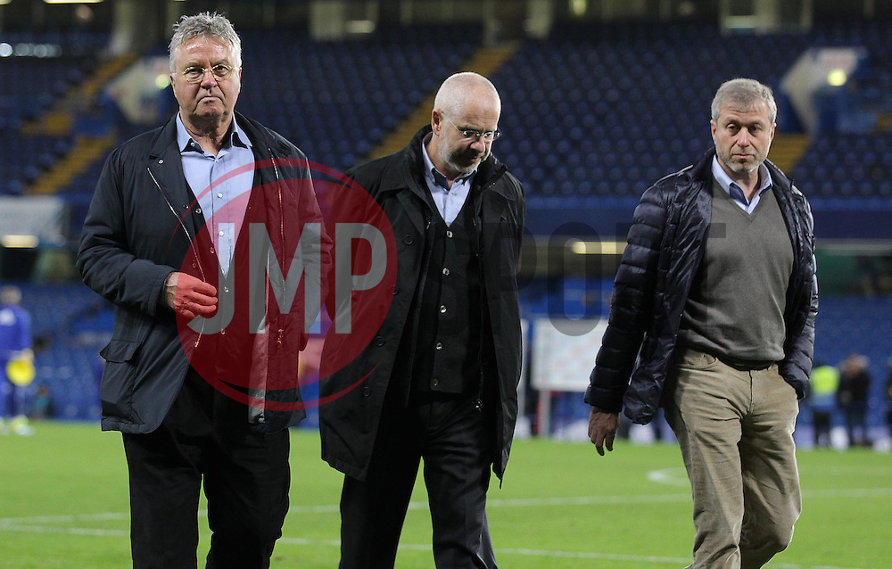 Newly appointed Chelsea Manager, Guus Hiddink ( L ) and Chelsea owner, Roman Abramovich ( R ) - Mandatory byline: Paul Terry/JMP - 07966 386802 - 19/12/2015 - FOOTBALL - Stamford Bridge - London, England - Chelsea v Sunderland - Barclays Premier League