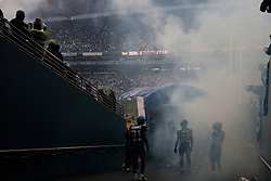 December 5, 2010; Seattle, WA, USA;  Seattle Seahawks cornerback Kelly Jennings (21) and safety Lawyer Milloy (36) and cornerback Walter Thurmond (28) enter the field before the game against the Carolina Panthers at Qwest Field.