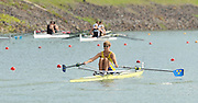 Racice, CZECH REPUBLIC. SWE JM1X Oscar CLAESSON, moves away from the start in his heat of the men's single sculls.  2010. FISA Junior World Rowing Championships. Thursday,  05/08/2010.  [Mandatory Credit Peter Spurrier/ Intersport Images]