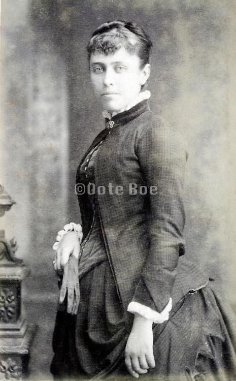 half length studio portrait woman late 1800s