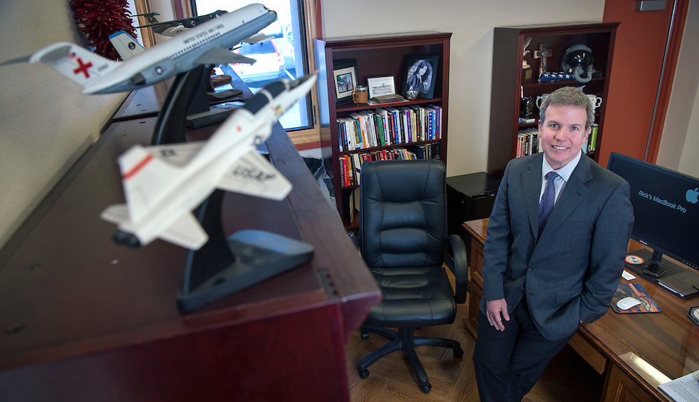em120716b/jnorth/Richard J. Bailey, Jr. is the new president of Northern New Mexico College. The former U.S. Air Force pilot has models of the aircraft he few displayed in his office. Photo shot Wednesday December 6, 2016.(Eddie Moore/Albuquerque Journal)