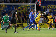 Milton Keynes Dons midfielder David Kasumu (29) scoring goal during the EFL Cup match between AFC Wimbledon and Milton Keynes Dons at the Cherry Red Records Stadium, Kingston, England on 13 August 2019.