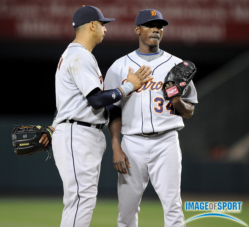 May 26, 2008; Anaheim, CA, USA; Detroit Tigers reliever Freddy Dolsi (34) is consoled by third baseman Carlos Guillen (9) in the 12th inning of 1-0 loss to the Los Angeles Angels at Angel Stadium. Mandatory Credit: Kirby Lee/Image of Sport-US PRESSWIRE