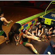 The Greenville Roller Girls were the first Roller Derby team in the City of Greenville, N.C. This all female team lasted only about three months from start to finish, later disbanding with a few members forming another team, The Ring City Rollers. Left to Right Becky Durham, Lauren Hayden, Megan Hucks, Ashley Talbot, and Jenn Angele prepare for practice at Galaxy Sports in Kinston, N. C.  jfgdr