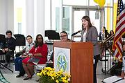 Holly Maria Flynn Vilaseca, HISD Trustee, District VI, speaking at Grand Opening of Sharpstown HS new school building. May 3, 2018. 3, 2018.
