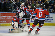KELOWNA, CANADA - NOVEMBER 26: Michael Herringer #30 of the Kelowna Rockets makes a save at the Kelowna Rockets game on November 26, 2016 at Prospera Place in Kelowna, British Columbia, Canada.  (Photo By Cindy Rogers/Nyasa Photography,  *** Local Caption *** Jonathan Smart #6 of the Kelowna Rockets, Nolan Foote #29 of the Kelowna Rockets