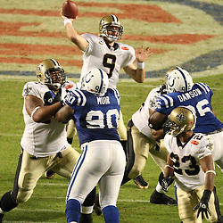 2010 February 07: New Orleans Saints quarterback Drew Brees (9) throws a pass during a 31-17 win by the New Orleans Saints over the Indianapolis Colts in Super Bowl XLIV at Sun Life Stadium in Miami Gardens, Florida.