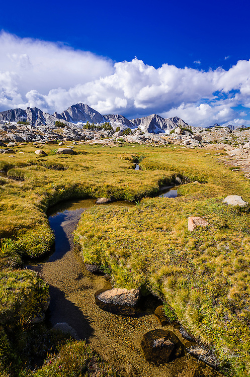 Creek and meadow in Dusy Basin, Kings Canyon National Park, California USA