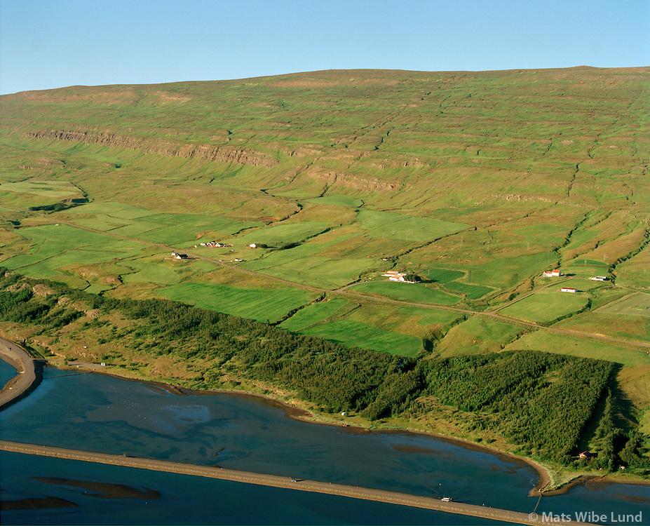 Frá vinstri: Austurhlíð, Ytri-Varðgjá og Syðri-Varðgjá séð til norðausturs, Eyjafjarðarsveit áður Öngulsstaðahreppur.  /   From left: Austurhlid, Ytri-Vardgja and Sydri-Vardgja viewing northeast, Eyjafjardarsveit former Ongulsstadahreppur.
