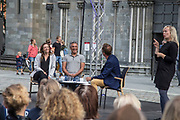 """Reza Aslan og Jessica Jackley. Han religionshistoriker, professor og foredragsholder, og forfatter av en rekke bøker om religion. Gift med Jessica, prisvinnende sosial entreprenør, foredragsholder og forfatter. Han er muslim, hun er kristen. Gjester på Vestfrontmøtet 4. august 2018, dvs. verbalgrogrammet til Olavsfestdagene i Trondheim. Reza Aslan (born 1972) is an Iranian-American author, public intellectual, religious studies scholar, producer, and television host. He has written three books on religion: No god but God: The Origins, Evolution, and Future of Islam, Beyond Fundamentalism: Confronting Religious Extremism in the Age of Globalization, and Zealot: The Life and Times of Jesus of Nazareth. Aslan is a member of the American Academy of Religion, the Society of Biblical Literature, and the International Qur'anic Studies Association. He is also a professor of creative writing at University of California, Riverside. He is also currently a board member of the National Iranian American Council (NIAC).  After the June 2017 London Bridge attack Aslan took to Twitter to call President Trump """"a piece of shit"""" and a """"man baby"""" for his response to the attack. On June 9, 2017, in response to his remarks, CNN decided to cut ties with Aslan and announced they would not move forward with season two of the Believer series. Aslan said of the cancellation, """"I am not a journalist. I am a social commentator and scholar. And so I agree with CNN that it is best that we part ways. (Wikip.)  Jessica Erin Jackley, born 1977 an American entrepreneur who co-founded Kiva and later ProFounder, two organizations that promote development through microloans. Jackley was the co-founder and CEO of ProFounder, a platform that provided tools for small business entrepreneurs in the United States to access start-up capital through crowdfunding and community involvement. <br /> Prior to ProFounder, Jackley was co-founder and Chief Marketing Officer of Kiva, the world's first p2p microlending web"""