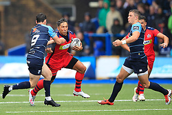 Gavin Henson of Bristol Rugby (C) in action with Will Cliff of Bristol Rugby (L) - Mandatory by-line: Ian Smith/JMP - 20/08/2016 - RUGBY - BT Sport Cardiff Arms Park - Cardiff, Wales - Cardiff Blues v Bristol Rugby - Pre-season friendly