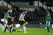 Sheffield Wednesday defender Moses Odubajo (22) is shown a red card by match referee Stephen Martin during the EFL Sky Bet Championship match between Derby County and Sheffield Wednesday at the Pride Park, Derby, England on 11 December 2019.